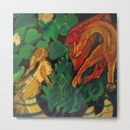 Dragon and Mermaid Meeting Metal Print