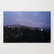 Seattle Skyline at Sunrise During the rain Canvas Print