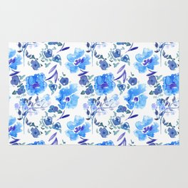 Watercolour Blue Floral Pattern Rug