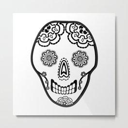 Black and White Sugar Skull (Calavera) Metal Print