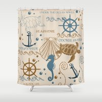 tote bag Shower Curtains featuring Sea Shore Tote Bag Design With Turtles, And Other Ocean Items by Moonlake Designs