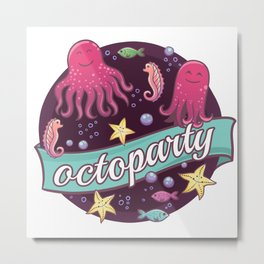 Octoparty Metal Print