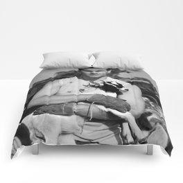 Tom Brady The Goat (B&W) Comforters
