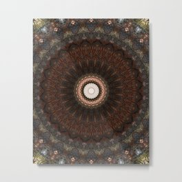 Detailed mandala in brown tones Metal Print