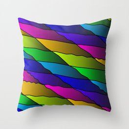 Slanting rainbow lines and rhombuses on pink with intersection of glare. Throw Pillow