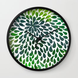 Floral Painted Drops Wall Clock