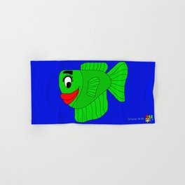 Friendly Green Fish Hand & Bath Towel