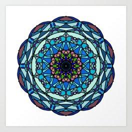 Colored hand painted vinyl mandala Art Print