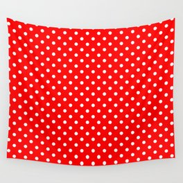 Polka dots White dots over red Wall Tapestry