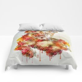 Resting Lioness Watercolor Painting Comforters