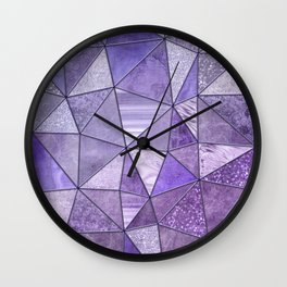 Purple Lilac Glamour Shiny Stained Glass Wall Clock