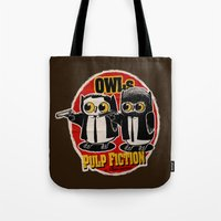 pulp fiction Tote Bags featuring Owls Pulp Fiction by Lime