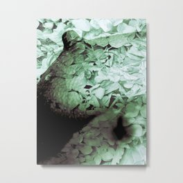 Green Floral Breasts Metal Print