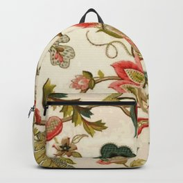 Jacobean Floral Crewel Embroidery Pattern Digital Art Vector Painting Backpack