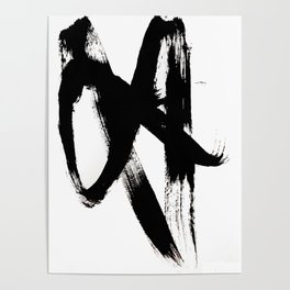 Brushstroke 2 - simple black and white Poster