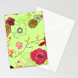 Poppy large floral print on bright green Stationery Cards