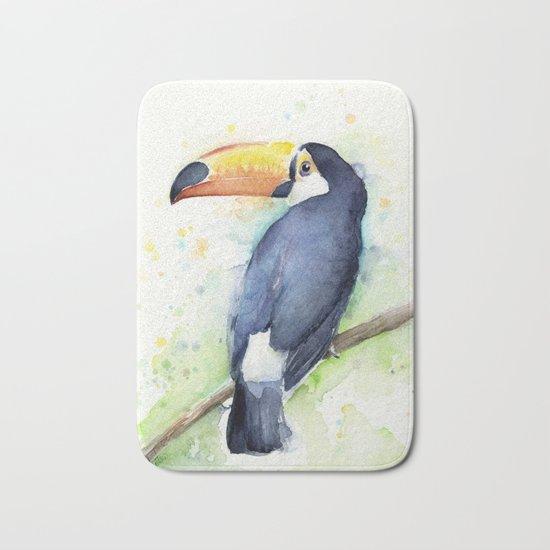 Toucan Tropical Bird Watercolor Bath Mat
