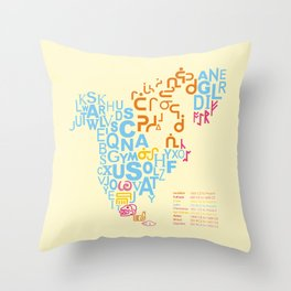 North America ~ Writing Sistems Throw Pillow