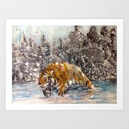 Tiger and City Art Print