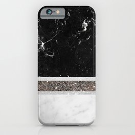 Black and White Marble Silver Glitter Stripe Glam #1 #minimal #decor #art #society6 iPhone Case