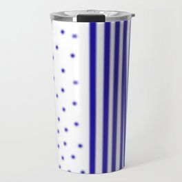 Ethnic dots blue on white Travel Mug