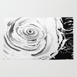 Roses For A Romantic Heart, Black and White Rug