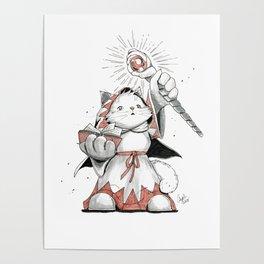 White Mage Munchkin Cat Poster
