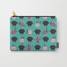 Black lab florals labrador retriever dog breed pet friendly pattern flowers bouquet Carry-All Pouch