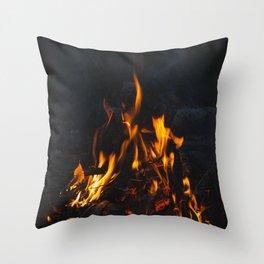 Bonfire up on the Norwegian mountain Throw Pillow