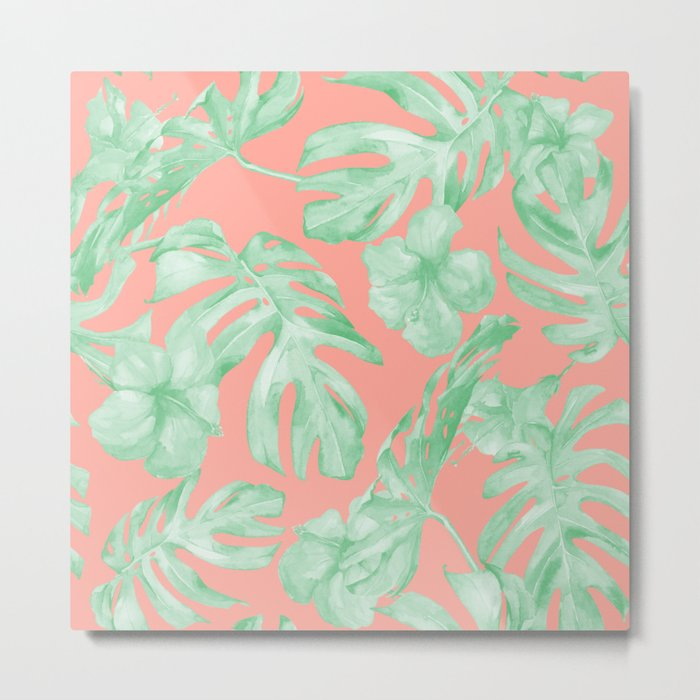Tropical Palm Leaves Hibiscus Flowers Coral Green Metal Print