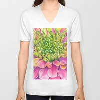 dahlia V-neck T-shirts featuring Dahlia by Susie Bell