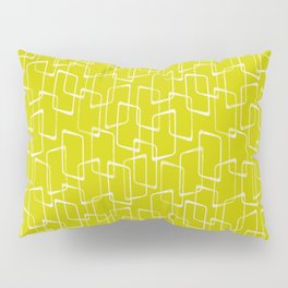 Lime Green Retro Geometric Pattern Pillow Sham