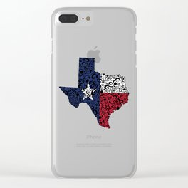 Texas - Hand Sketched Doodle Art Clear iPhone Case