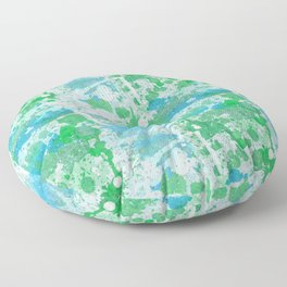 Abstract Paint Splatters Blue and Green Floor Pillow