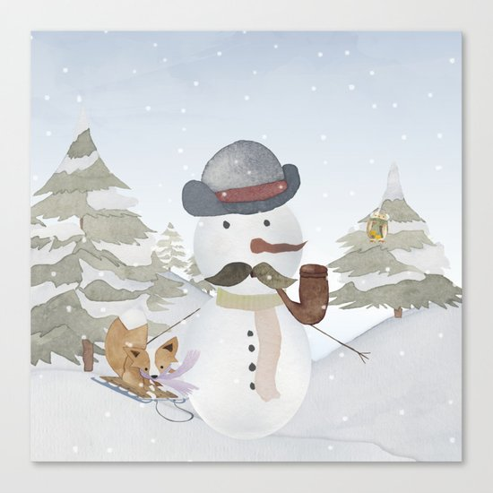 Winter Wonderland- Funny Snowman and friends - Watercolor illustration III Canvas Print