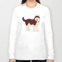 husky Long Sleeve T-shirts featuring Husky Dog by TinyBee