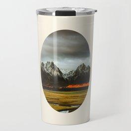 Iceland Landscape Grass Orange Sand & Grey Mountains Round Frame Photo Travel Mug
