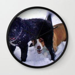 Happy Dogs in Snow Wall Clock