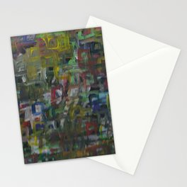 Colorful Abstract Square Acrylic Painting Stationery Cards