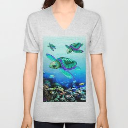 Sea Turtles Dance Unisex V-Neck