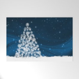Blue Christmas Eve Snowflakes Winter Holiday Welcome Mat