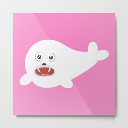 White happy Seal Metal Print