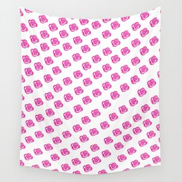 Pink Rose Print Pattern Wall Tapestry