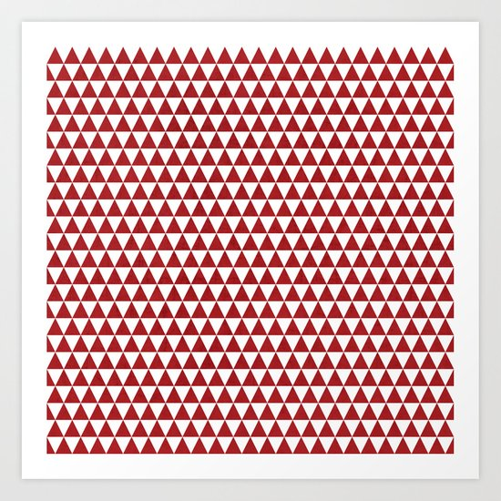 triangles - red and white Art Print