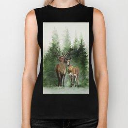 Deers in the Forest Biker Tank