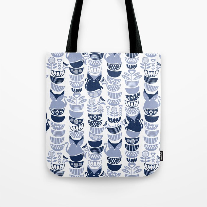 Swedish Folk Cats III White Background Pale And Navy Blue Kitties Bowls Tote