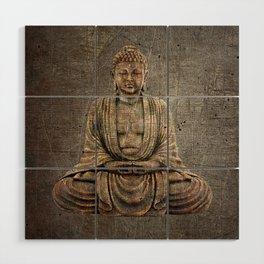 Sitting Buddha On Distressed Metal Background Wood Wall Art