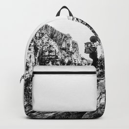 Boys Adventure | Rustic Camping Kid Red Rocks Climbing Explorer Black and White Nursery Photograph Backpack