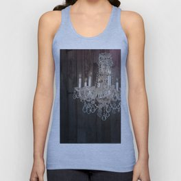 rustic nature barn wood western country shabby chic chandelier art Unisex Tank Top