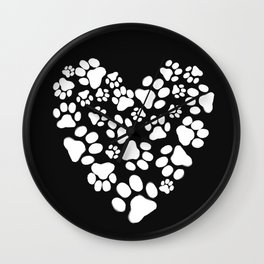 Dog Paw Prints Heart Wall Clock